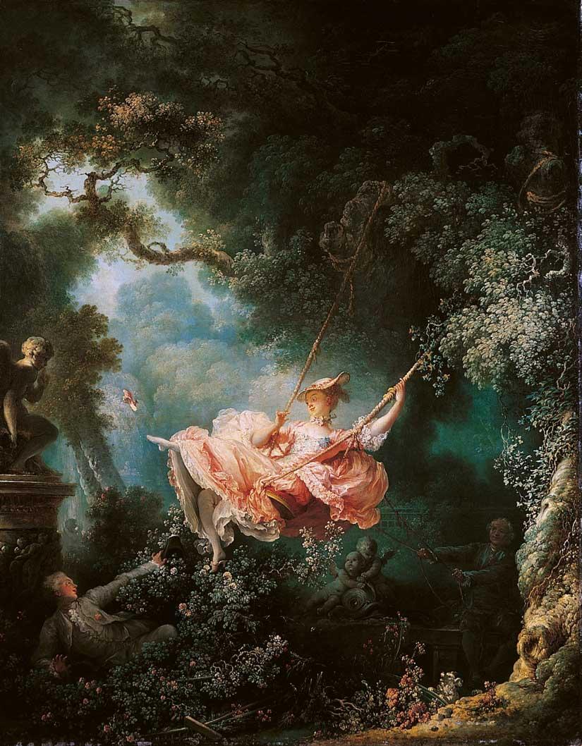 Jean-Honore-Fragonard-Die-Schaukel-beruehmte-gemaelde-bekannter-kuenstler