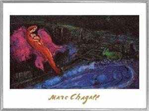 Marc Chagall Poster Kunstdruck und Kunststoff-Rahmen - Bridges Over The Seine (80 x 60cm)