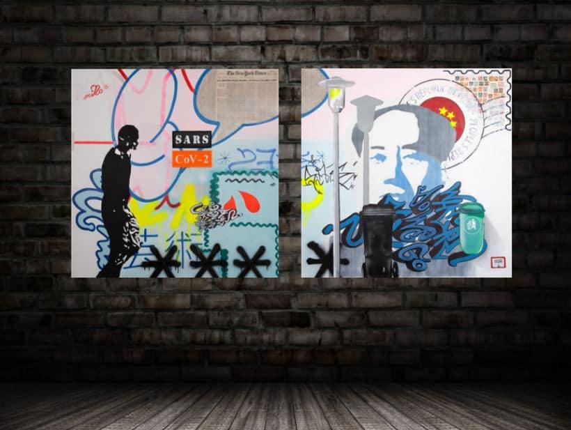 moS-ART - Pandemic 2020 mit ausgestickten Elementen, miNo-ART ®