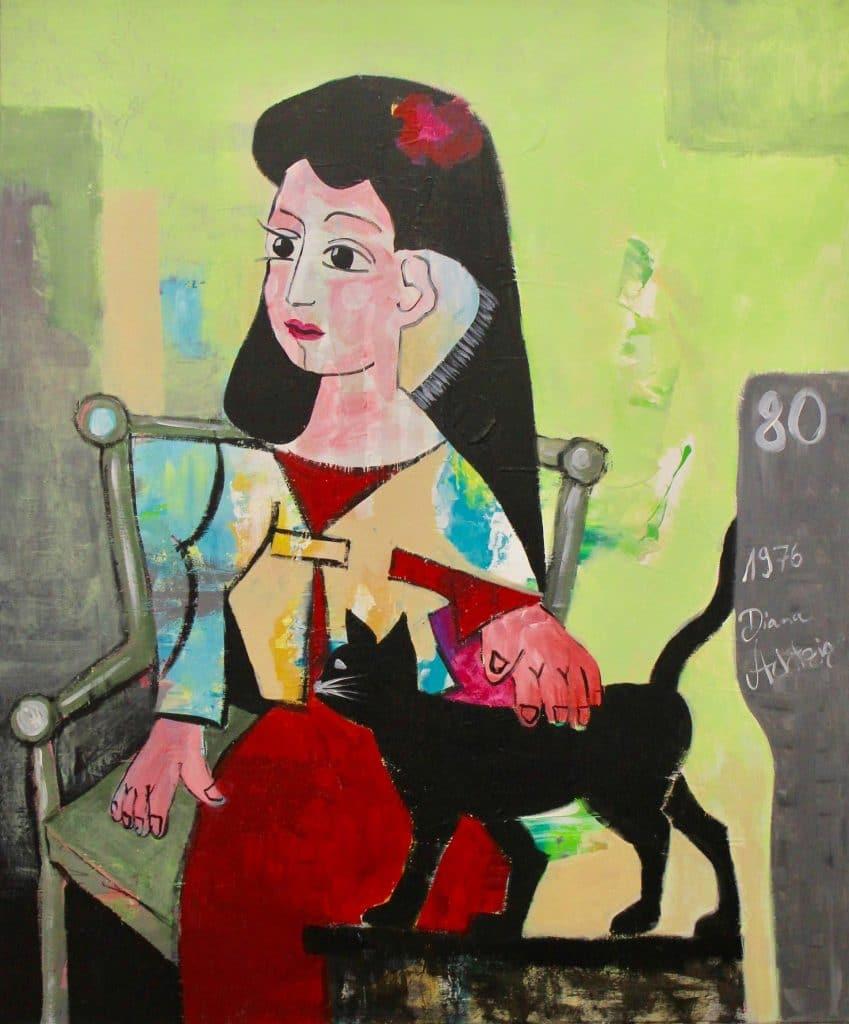 2-Diana-Achtzig-Maedchen-in-Rot-mit-Katze-nach-Pablo-Picasso